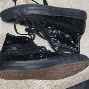 black sequined converse